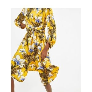 New ZARA Floral Print Gathered Midi Dress XS